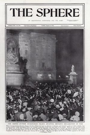 The Crowd Outside Buckingham Palace Awaiting Britain's Declaration of War, August 1914