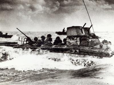 Us Marines in Buffalo Amphibian Tractor Head for Tinian in the Marianas, July 1944