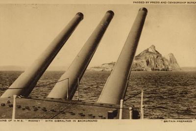 Guns of the British Battleship HMS Rodney, with Gibraltar in the Background, World War II