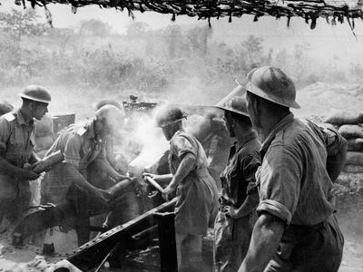 25-Pounder Guns in Action on the Rapido Sector of the Cassino Front During World War Two, C.1943-45