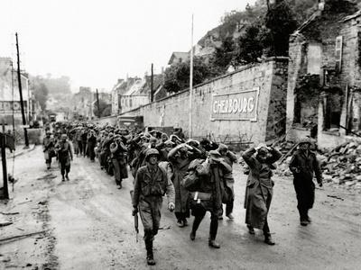 German Prisoners are Marched Out of the City, Cherbourg, Normandy, France, June 1944
