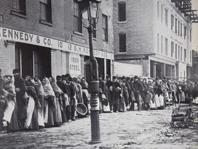 Men and Women Lining Up During the 1902 Coal Strike for their Allotment of Coal, 1902