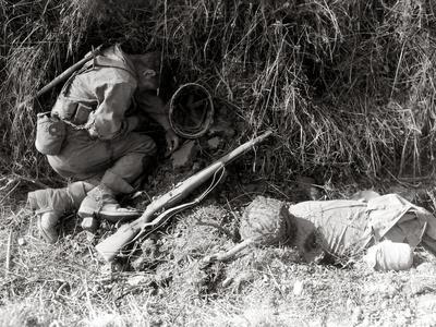Two U.S. Soldiers Have Been Killed at the Crossroads Of, Fromentel, Normandy, France, August 1944