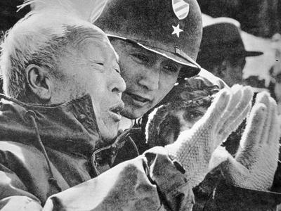 President Syngman Rhee of South Korea Watching Army Manoeuvres with Brigadier-General Oh, 1952