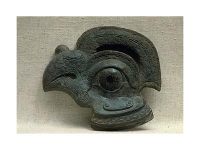Sconce in the Shape of a Bird's Head, Green Patinated Bronze, Eastern Chou