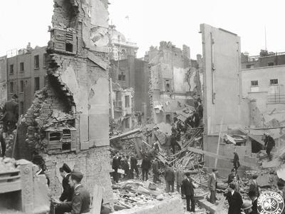People Searching the Ruins after a Bombing or Impact of V1 or V2, United Kingdom, 1944