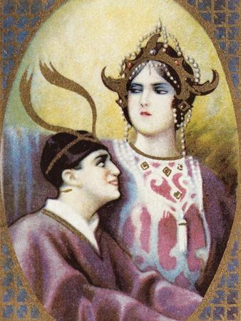 Small Calendar Illustrating Scenes from Turandot, Opera by Giacomo Puccini