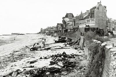 A Republic P-47 Has Crashed on the Beach, Which Is Littered with Scrap, Normandy, France, June 1944