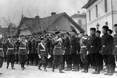 Nicholas Ii, Accompanied by the Tsarevich, Inspects a Guards Regiment, 1916