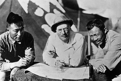 Swedish Explorer and Geographer Sven Hedin Studying a Map with Two Chinese Colleagues