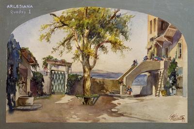 Set Design by Pirrotta for L'Arlesiana, Scene I, 1952, Opera by Francesco Cilea