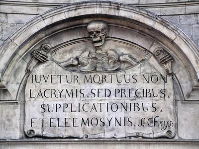 Skeleton Representing Death, Detail from Facade, Church of Our Lady of Suffrage