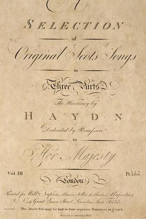 Title Page of Score for Scottish Folk Songs Set to Music by Franz Joseph Haydn