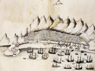 View of City of Aden, Yemen, Engraving from Legends of India by Gaspar Correia