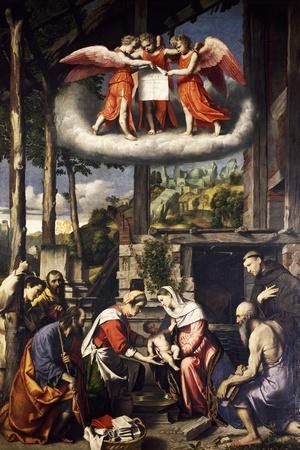 The Adoration of the Child, Painting by Alessandro Bonvicino known as Il Moretto