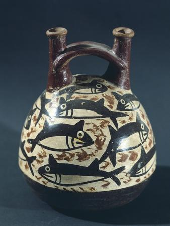 Vase Showing a Depiction of Fish, Probably Tuna, Artifact Originating from Nazca