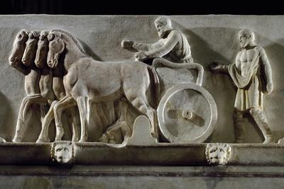 Hoplite on Chariot, Detail of Frieze of Marble Sarcophagus known as Mourners