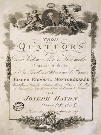 Title Page of Score for Three Quartets, Opus 75, Book I by Franz Joseph Haydn