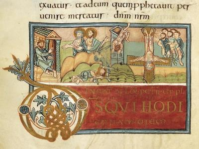 Nerone Throne and Fall of Simon the Mage, Miniature from Liber Sacramentorum