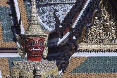 Thailand, Bangkok, Detail of Statue of Yak Guardian in Wat Phra Kaew Temple