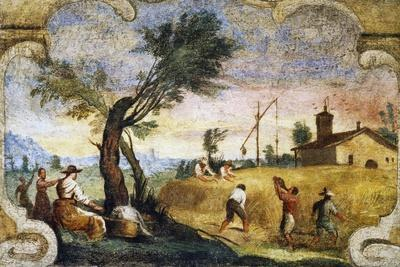 The Harvesting, Fresco by Giovanni Francesco Barbieri, known as Il Guercino