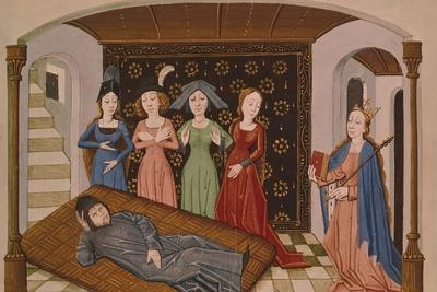 Muses Visiting Boethius in Prison, Miniature from the Consolation of Philosophy