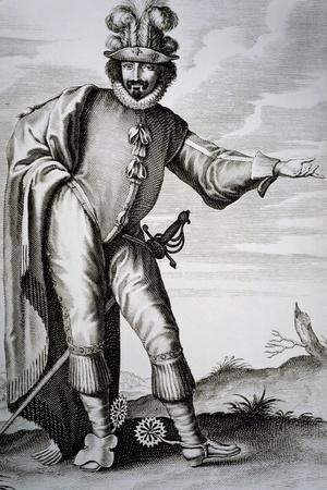 Actor Bellemore in Role of Matamoro in Illusion Comique, 1635, Play by Pierre Corneille