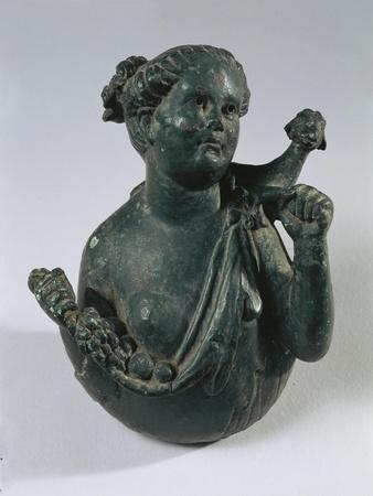 Bronze Bust of Maenad Holding Goat on Her Shoulders and Fruit in Her Arms, from Volubilis