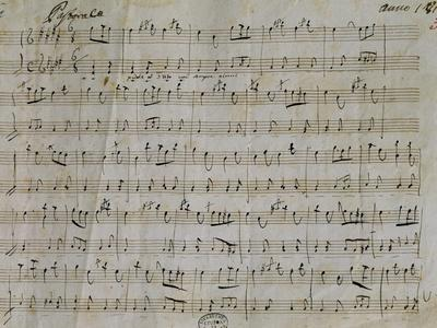Autograph Sheet Music of Pastoral for Harpsichord, 1813, Composed by Gaetano Donizetti