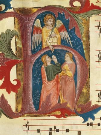 Illuminated Initial Capital Letter H Depicting a Scene from the Old Testament by Turone