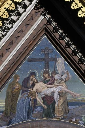 Deposition of Jesus from Cross, Mosaic on Tympanum on Cathedral of Resurrection of Christ