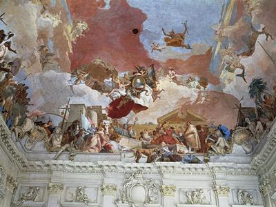 Germany, Wurzburg Residence, Fresco by Giambattista Tiepolo on Ceiling of Entrance Staircase
