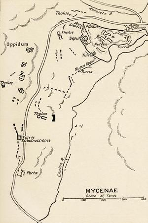 Map of Mycenae, Greece, from 'Atlas of Ancient and Classical Geography', Published in 1928