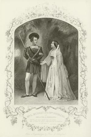Mr L Murray and Mrs Stirling as Orlando and Rosalind, as You Like It, Act V, Scene IV