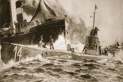 The Fate of 'U14', Hammered by a British Trawler, from 'The Illustrated War News'