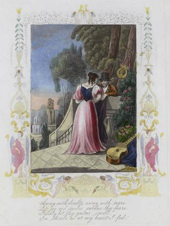 British Valentine Card with an Image of a Man and a Woman Standing on a Garden Terrace