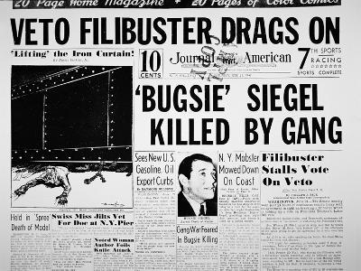 Bugsie Siegel Killed by Gang', Front Page of New York Journal, 21st June 1947