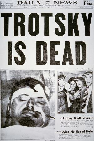 Front Page of the New York Daily News Announcing the Death of Leon Trotsky, 22nd August 1940