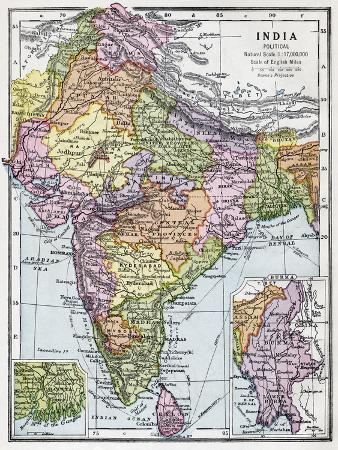India before Partition C.1930, from Bacon's 'Excelsior Atlas of the World', Published C.1930