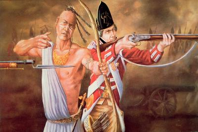 Native American Warrior Fighting with British Soldiers, During the American Revolutionary War