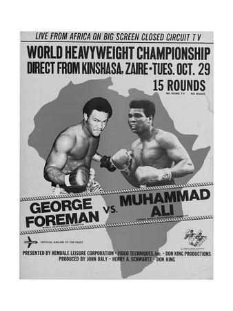 Poster Advertising the Fight Between Muhammad Ali and George Foreman in Kinshasa, Zaire, 1974