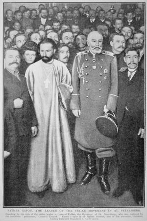 Father Gabon, Leader of the Strike Movement, in St. Petersburg with General Fullon, 1905