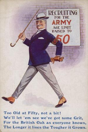 Smart English Gentleman Standing in Front of Poster for Recruiting Older Men to the Army