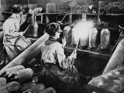 For General Petain's Guns, French Women Finishing Shell Cases, from 'The Illustrated War News'