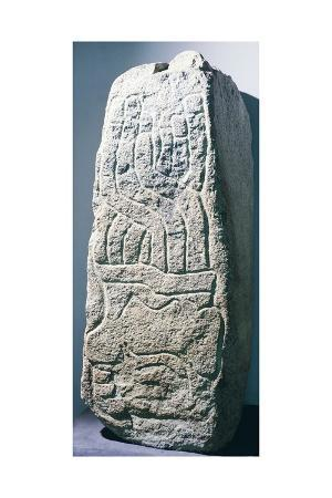 Stele Showing a Warrior's Head with a Headdress of Feathers, Artifact Originating from Cerro Sechin