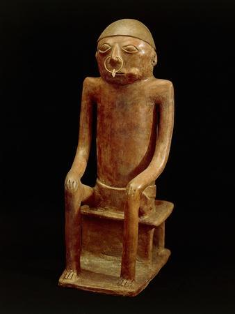 Terracotta Statue Depicting a Figure Chewing Coca, Artifact Originating from the Province of Carchi