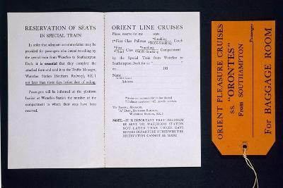 Train Ticket and Luggage Label for the Special Train for Orient Line Cruises, 1930S