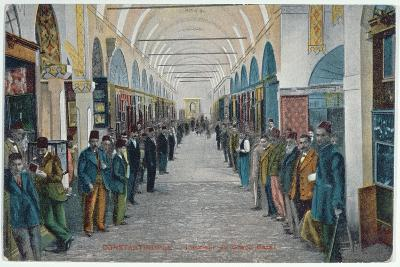 Postcard Depicting a View of the Grand Bazaar in Constantinople, Early 20th Century