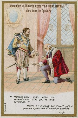 Trade Card Depicting the Response of King Henry IV of France to the Duke of Sully