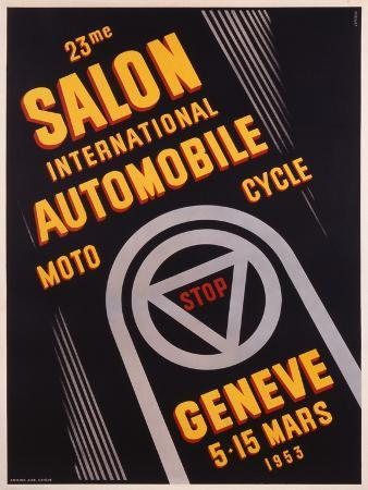 Advertisement for Salon De L'Automobile Geneve, Printed by Affiches Atar, Geneva, 1953